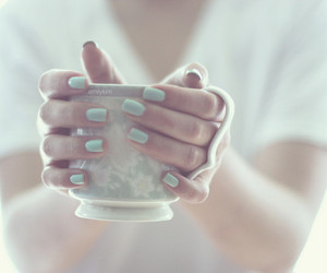 nails, cup, and tea image