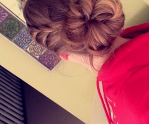 hair, messy bun, and lace braid image