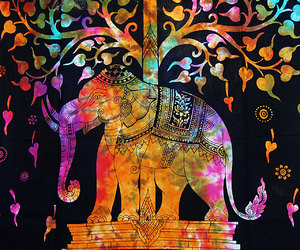 hippie tapestry, elephant tapestry, and beach throw image