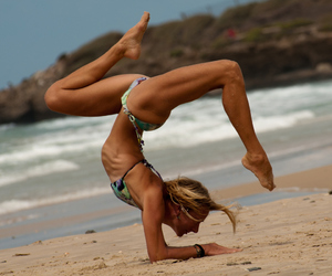 beach, fitness, and ocean image