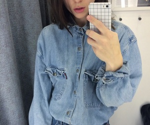 girl, blue, and jeans image