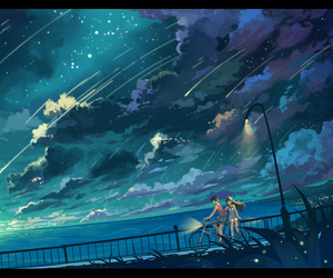 anime, sky, and scenery image