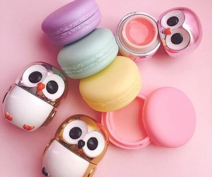 owl, lip balm, and pink image