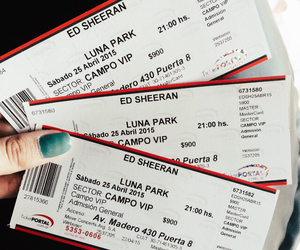 music, ticket, and ed sheeran image