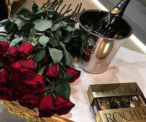rose, champagne, and luxury image
