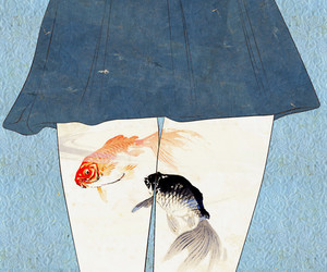 girl, fish, and art image