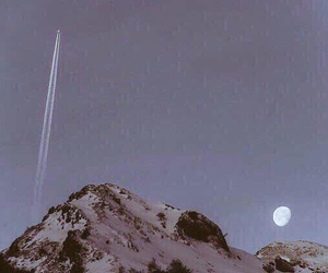 moon, mountain, and night image