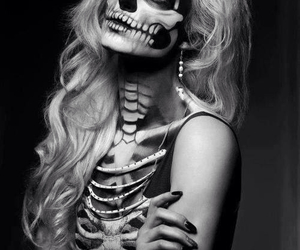 Halloween, skull, and black and white image
