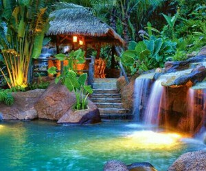 awesome, cottage, and waterfall image