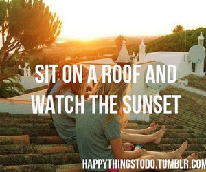 sunset, roof, and friends image
