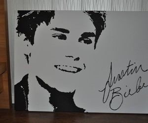 black and white, painting, and justin bieber image