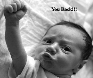 baby, black white, and rock image