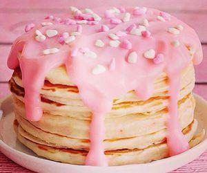 pink, pancakes, and food image