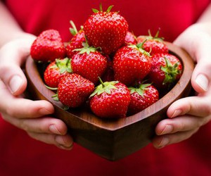 strawberry, food, and yum image