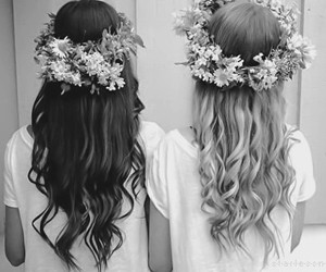 hair, flowers, and friends image
