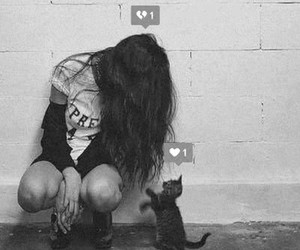 cat, love, and girl image