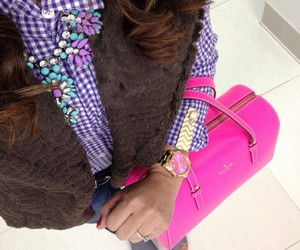 gold watch, hot pink purse, and neon pink purse image