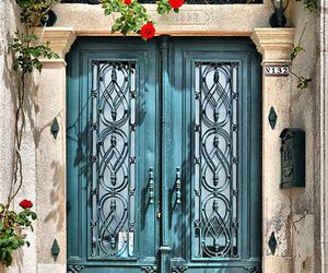 door, beautiful, and flowers image