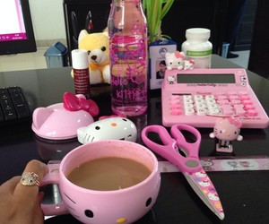hello kitty, office supplies, and pink everything image