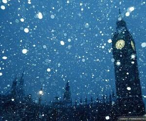 london, snow, and christmas image