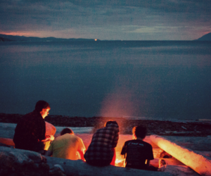 friends, fire, and beach image
