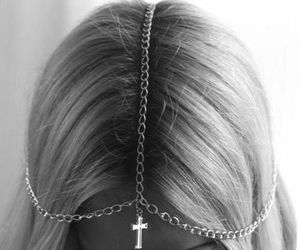 hair, cross, and blonde image