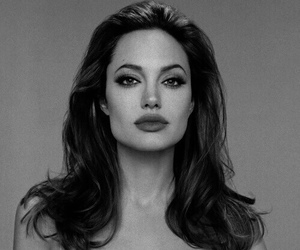 Angelina Jolie, black and white, and love image