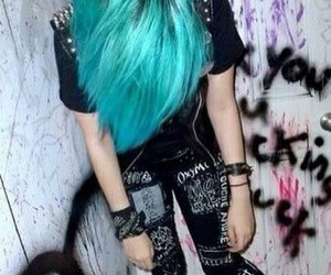hair, blue hair, and emo image