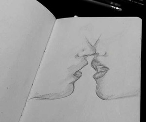 drawing, kiss, and sketch image
