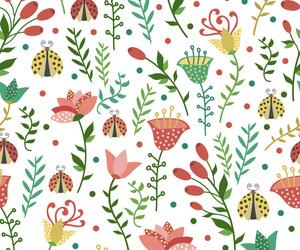 floral, ladybug, and pattern image