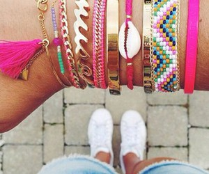 bracelet, pink, and girly image