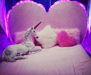 unicorn, bed, and pink image