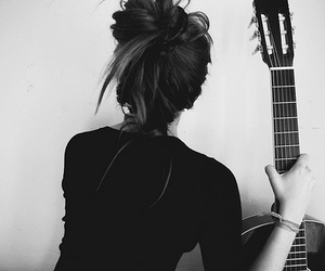 black & white, guitar, and hair image