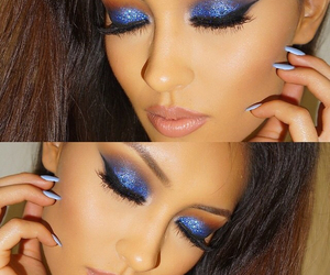 eye makeup, glitter eye shadow, and royal blue eyeshadow image