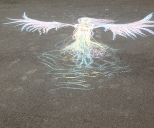 angel, chalk art, and fly away image