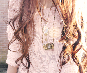 girl, hair, and necklace image