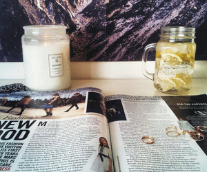 candle, magazine, and drink image