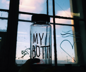 blue sky, bottle, and hair image