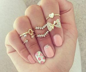 nails, rings, and pink image