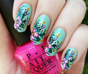 art, floral, and nail polish image