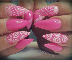 nailart and pink stiletto nails image