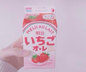 strawberry, milk, and pink image