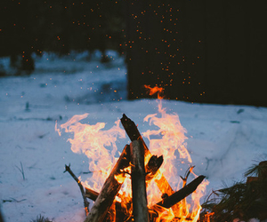 camping, fire, and fire place image