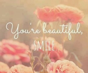smile, beautiful, and flowers image