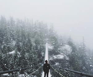 bridge, snow, and mountains image