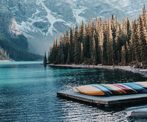 mountains, travel, and lake image