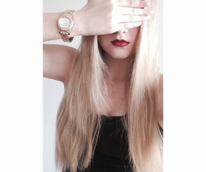 black, blond, and blond hair image