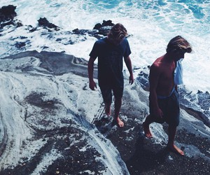 boy, ocean, and beach image