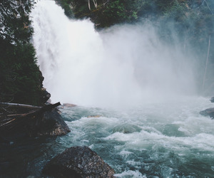 nature, waterfall, and water image