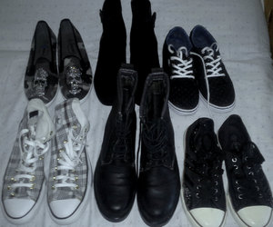 boots, convers, and dark image